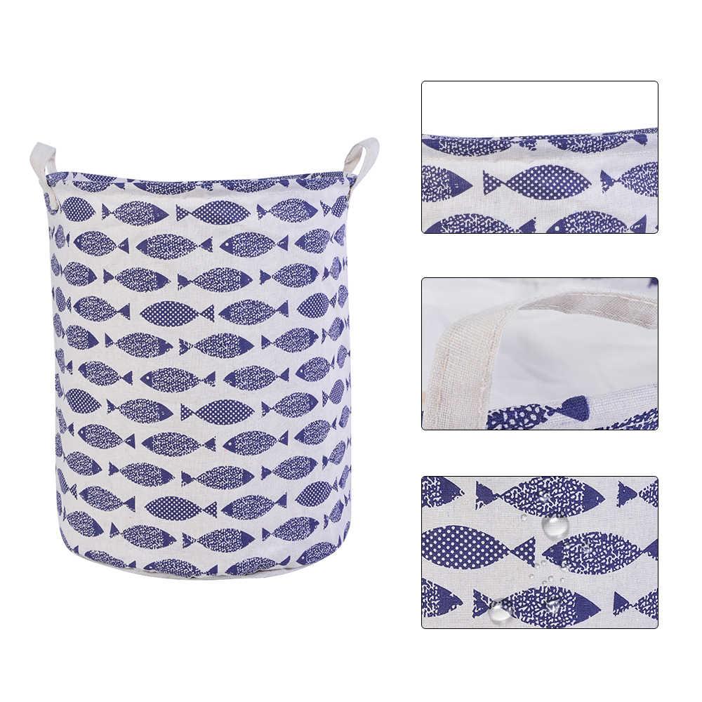 1 pçs grande capacidade de algodão linho lavanderia cesta dos desenhos animados barril armazenamento em pé brinquedos balde armazenamento roupas organizador lavanderia