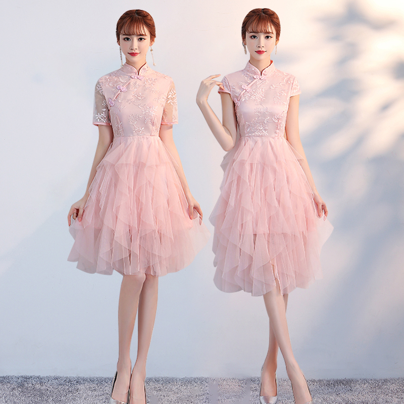 Knee-length Pink Bridesmaid Dress Elegant Wedding Party Dress Plus Size Tulle Sexy Dress Prom Simple Sister Party Vestidos Mujer