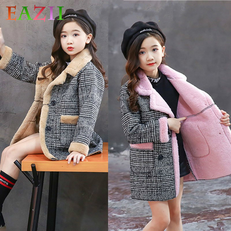 Children Plaid Woolen Coat Winter Kids Girl Overcoat Fashion Wool Coat For Girls Teens Toddler Long Jacket Casual Warm Outerwear