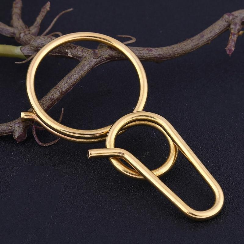 ring ring metal keychain EDC tool 8 type brass keychain retro pure brass handmade multifunctional key - 3
