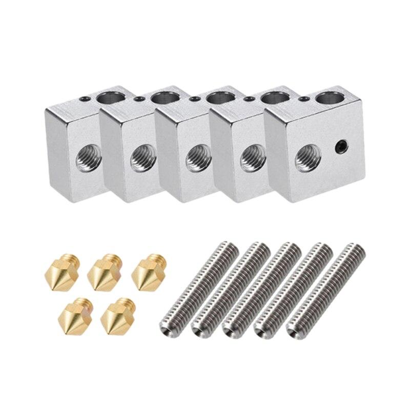 5Pcs/Set Anet A8 1.75Mm Teflon Throat Tube 0.4Mm Extruder Nozzle Print Heads M6 Heater Block Hotend For 3D Printer Parts