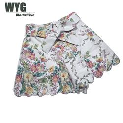 Ladies High Waist Linen Shorts 2020 Summer Red Floral Print Bow Tie Scallop Elegant Hot shorts