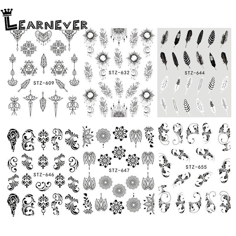 1 Sheet Jewelry Flower Water Decal Black Sticker For Nail Paper Pattern Foil Wrap Tattoo MNA7128 Manicure Tip Painting D5G0
