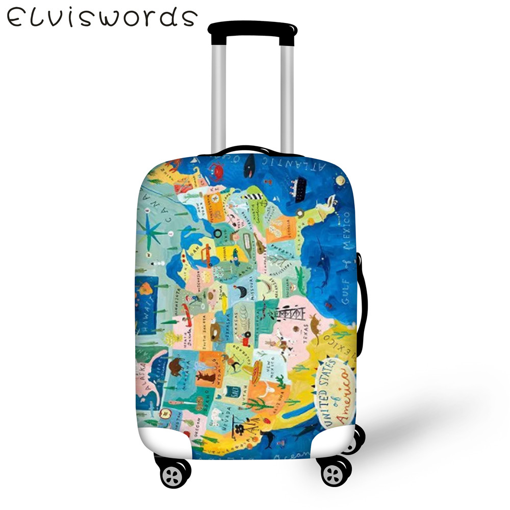 ELVIESWORDS 18-32 inch Suitcase Cover World Map theme Men's Women's Travel Goods Elastic Waterproof Thick Trolley Luggage Cover