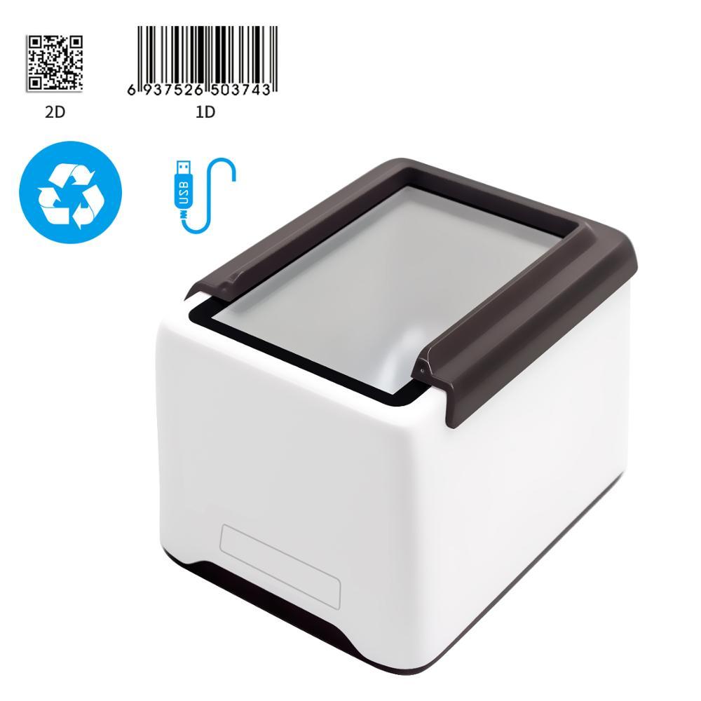 Desktop 1d 2d usb wired scanner de código de barras automático, suporte 1d & 2d códigos de papel ou tela, compatível com windows, mac, android