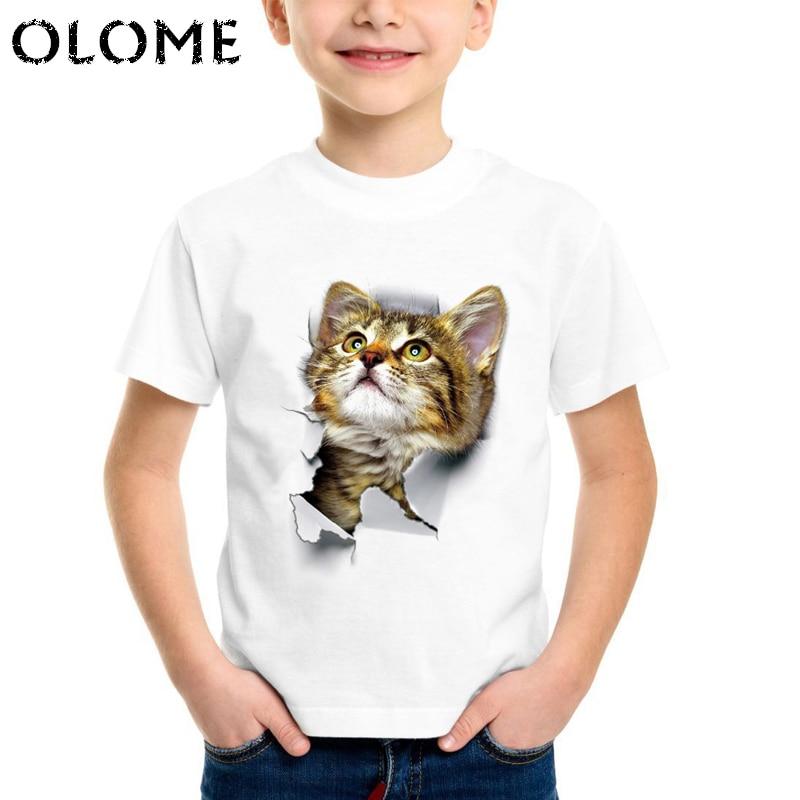 New 2019 Children's Animals 3D Cats Realistic Print Summer Tops baby boy animal Cute T Shirt kids birthday present T-shirt