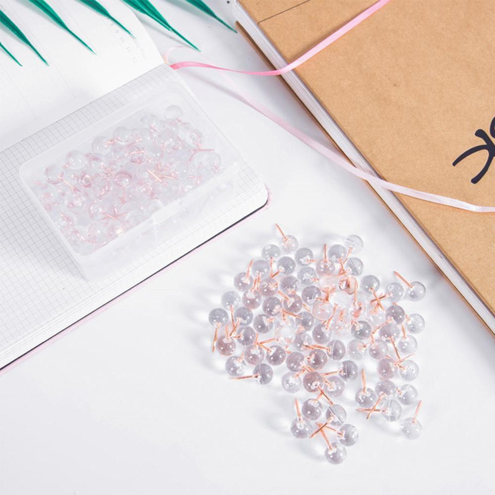 100pcs/box Acrylic Metal Map Tacks Push Pins Acrylic Head With Steel Point, Cork Board Safety Colored Thumbtack Office School
