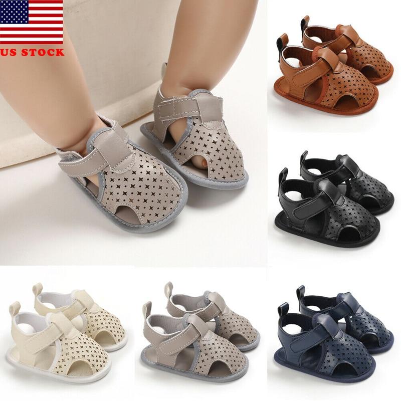 Infant Kid Baby Girl Flower PU Fashion Casual Crib Shoes First Prewalker  Sole Anti-Slip Shoes Baby Boy Summer