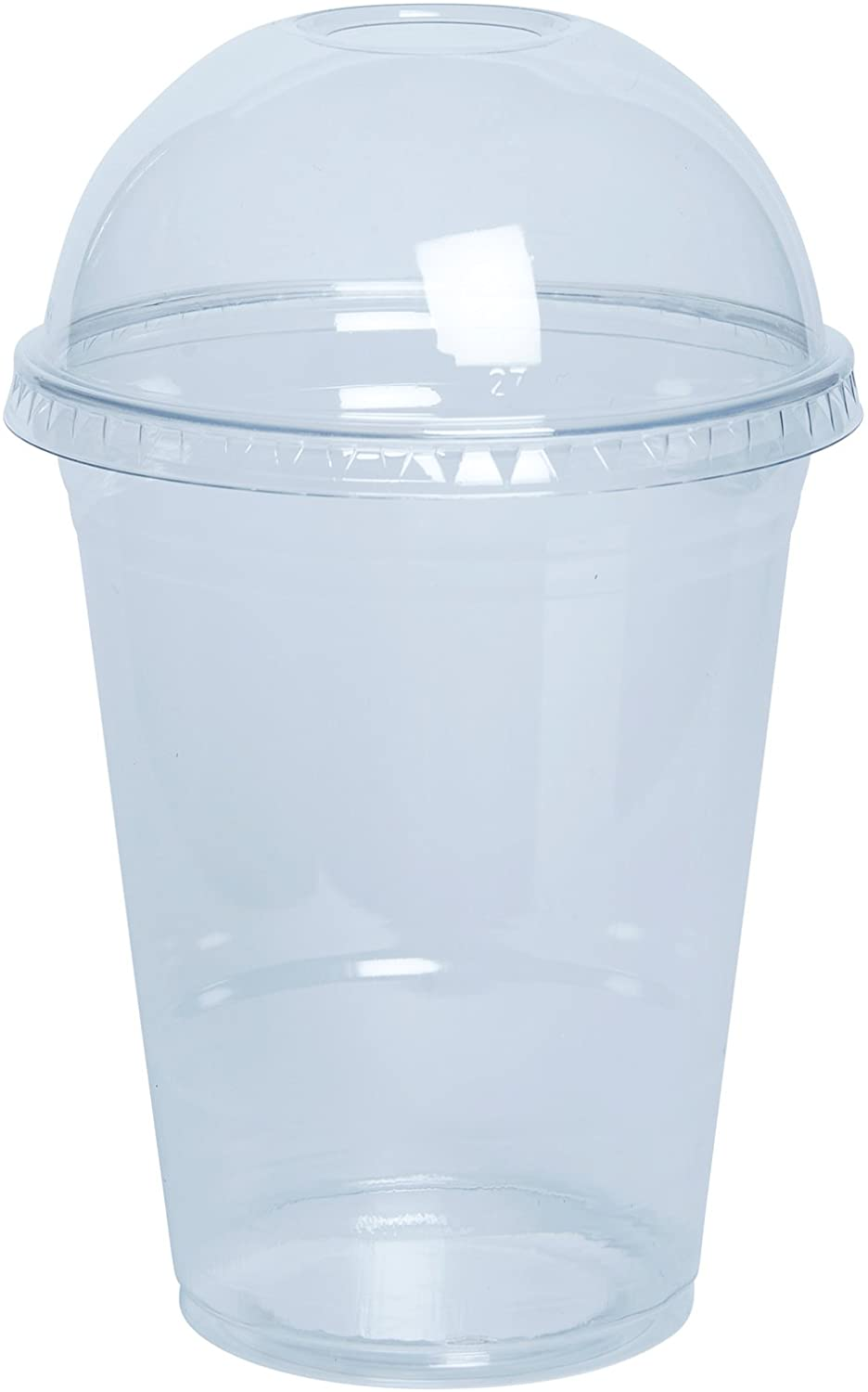 [100 Sets - 16 Oz.] Plastic Cups With Dome Lids, Clear Plastic Cups With Flat Lids Disposable Party Drinks,Clear Crystal 450ml