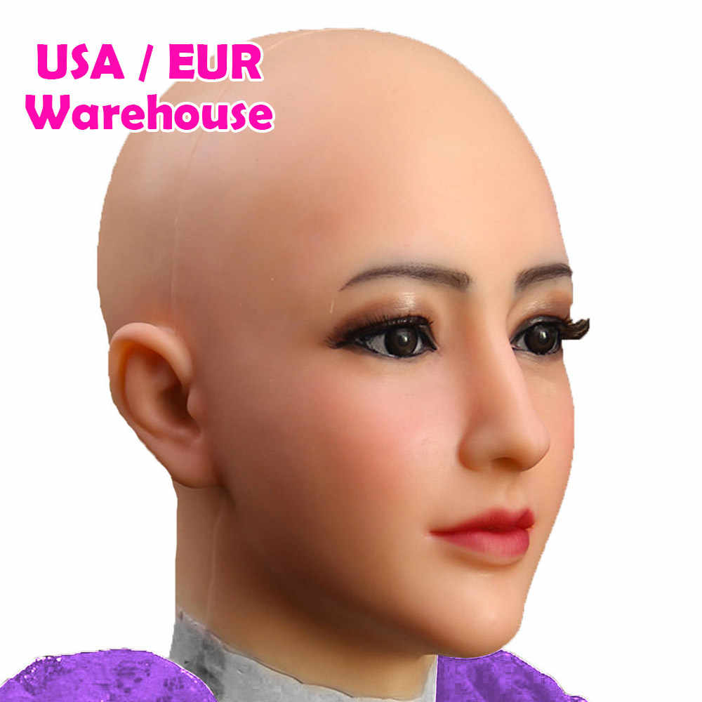 Dokier Crossdressing transseksüel yumuşak silikon baş maskesi yüz Crossdresser için travesti cadılar bayramı Cosplay erkek kadın