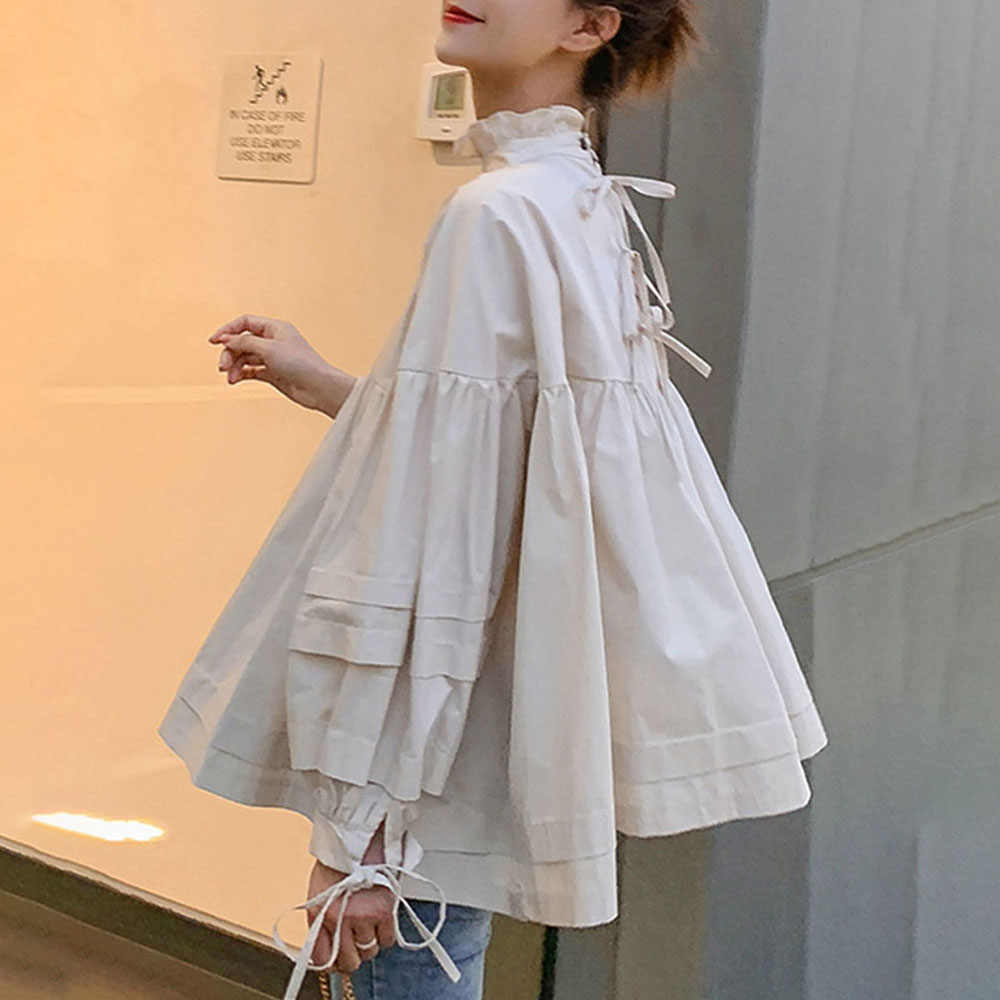 Koreaanse Stijl Vrouw Blouse Daily Elegante Buff Boog Losse Causale Shirts 2020 Zomer Bohemian High Street Strand Femme Fashion Tops