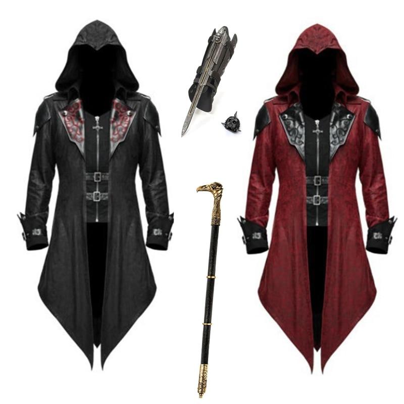 Vintage Hooded Costumes Men Long Sleeve Steampunk Jacket Gothic Swallow-tail PU Coat Halloween Cosplay Costume Killer Uniform