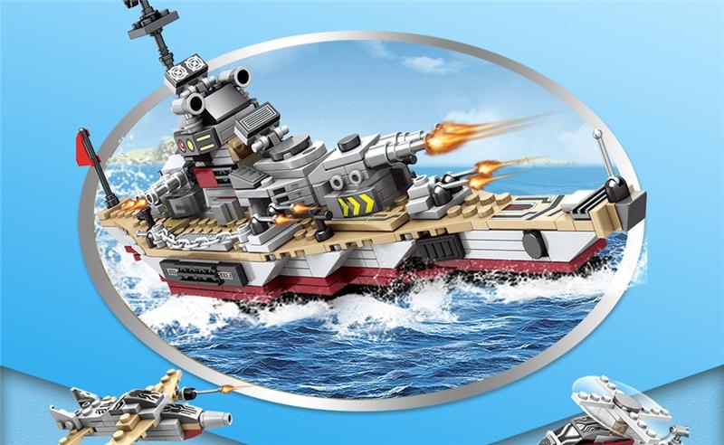 1000+ PCS Military Warship Navy Aircraft Army Figures Building Blocks LegoINGlys Army Warship Construction Bricks Children Toys (18)