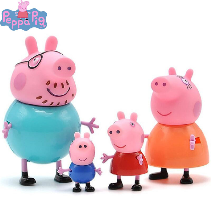 4pcs Peppa Pig George Family Pack Dad Mom Pig Action Figure Original Anime Figure Kids Toys For Children Christmas Gifts 5P