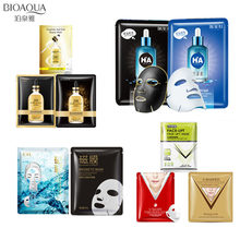 10Pcs BIOAQUA 24K gold foil face mask hyaluronic acid magnetic black facial mask Oil-control Moisturizing Anti-Aging skin care 10pcs images beauty tender skin moisturizing hyaluronic acid face mask oil control anti aging whitening facial mask sheet mask