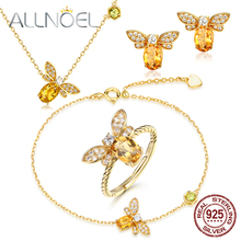 ALLNOEL Silver 925 Jewelry Bee Fine Jewelry Sets 100% Natural Citrine Necklace Earrings Rings Bracelet For Women Wedding Brand