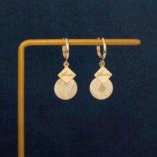 18k sólido amarelo real ouro jóias (au750) designer ins simples estilo retro requintado processo de escovação polimento moda brinco