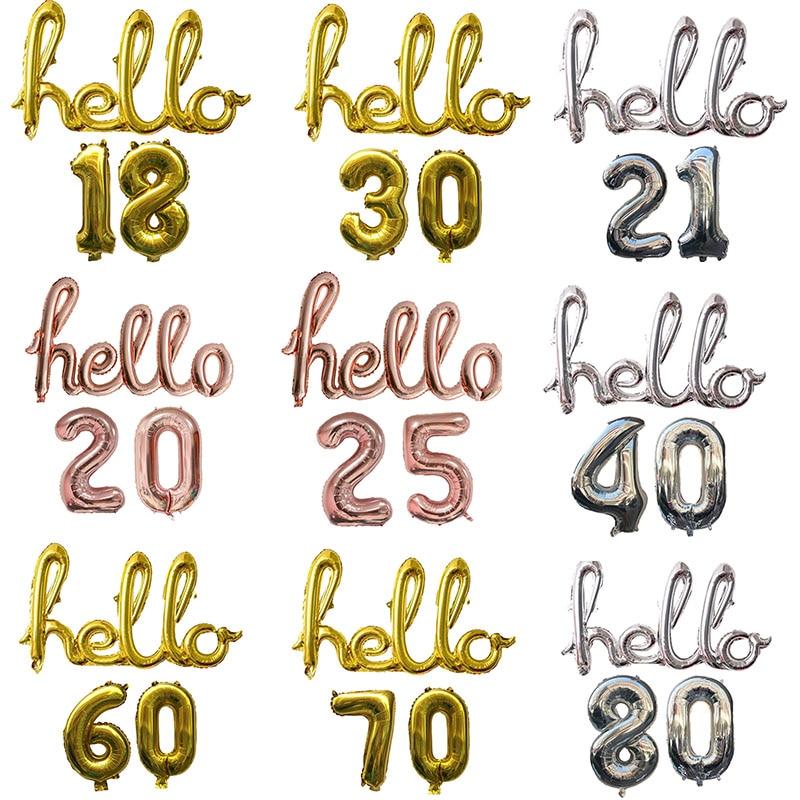 Ouro prata hello foil balões com 16 polegada número balão aniversário 18 21 25 30 40 50 anos de idade decorações da festa de aniversário 3 pçs