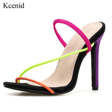 Kcenid 2020 New fashion woman open sandals summer sexy thin high heels dress lady shoes slip on colorful party sandals plus size
