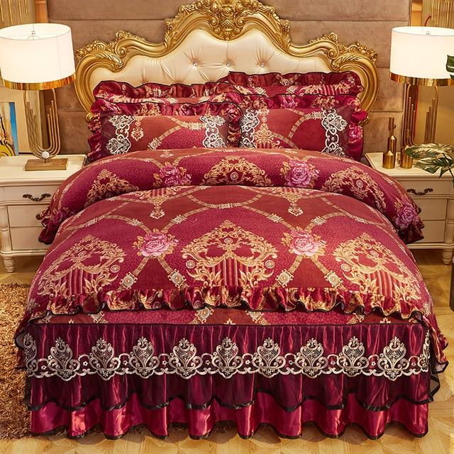 Parure de couette Chic Vintage, en dentelle à volants, avec jupe de lit et taies doreillers, ensemble de literie de luxe, Ultra doux et chaud, pour lhiver