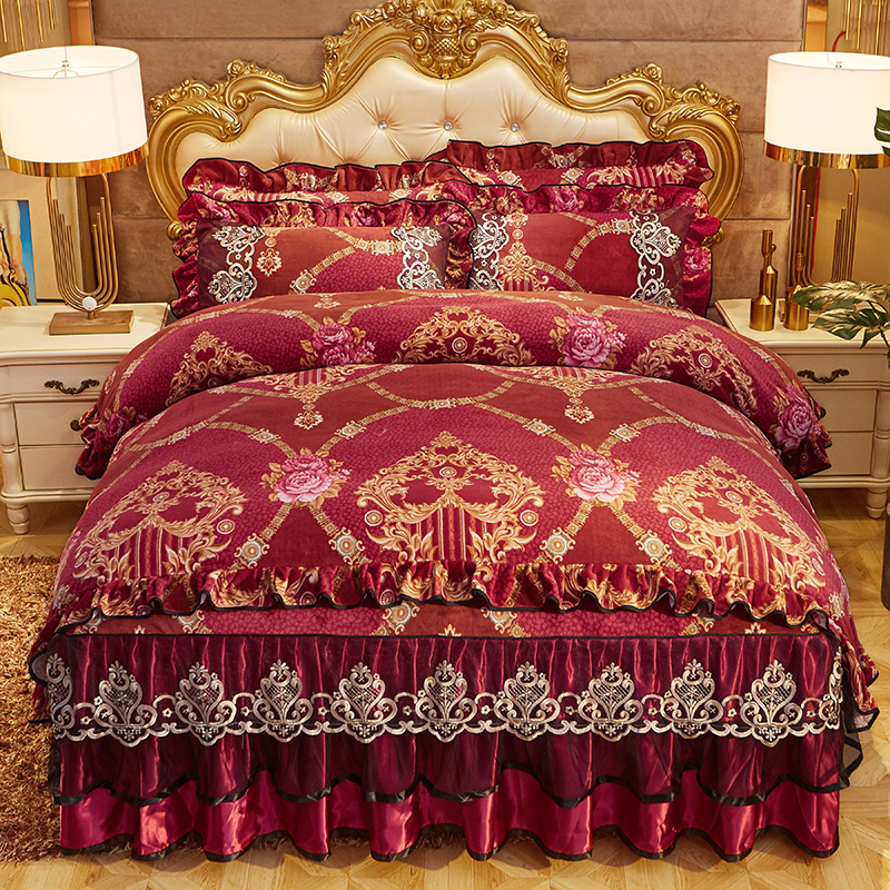 Vintage Chic Lace Ruffles Duvet Cover With Bedskirt Pillowcase Luxury Bedding Set Comforter Cover Set Ultra Soft Warm For Winter