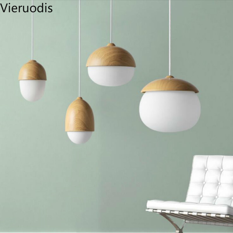 Modern Nordic Glass Lamp Nuts Acorn Small Mushrooms Led Hanging Lights For Living Room Home Decor Wood Grain Iron Pendant Light