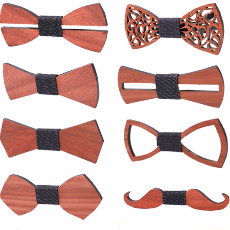 2019 Fashion Mens Wooden Bow Ties Men's Plaid Bowtie Wood Hollow Carved Bow Tie For Men Wedding Business Accessories