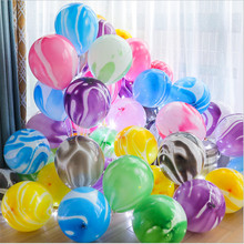 30pcs 10 inch 2.2 g agate monochrome color cloud marble balloon Featured paint round glass
