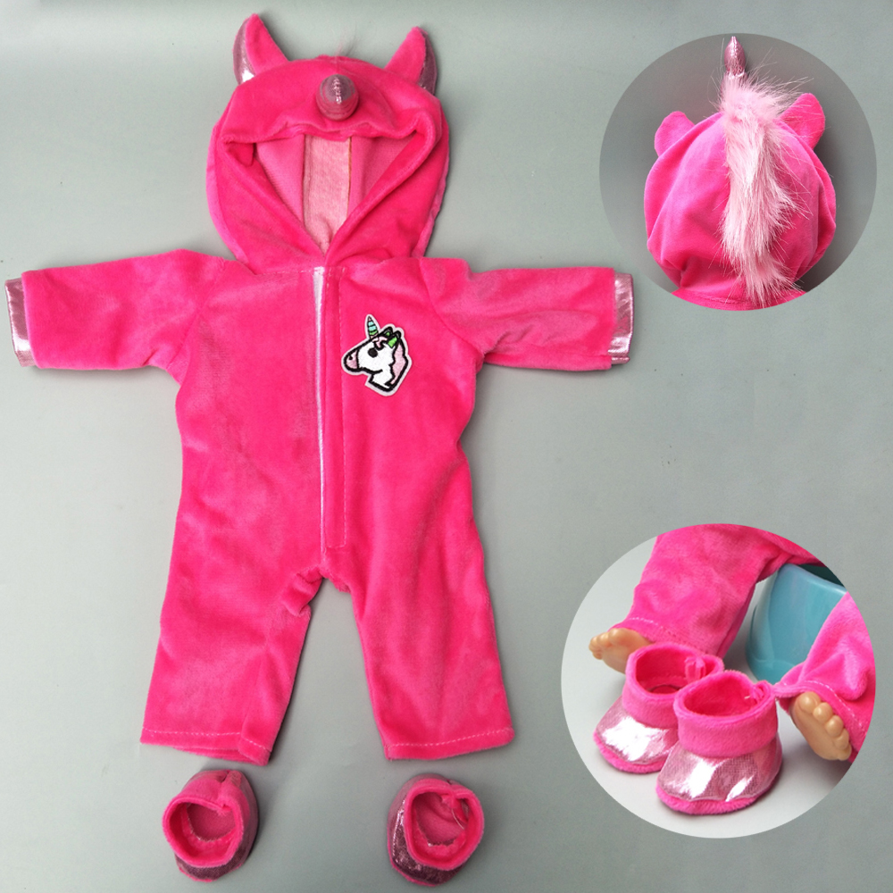 Doll Clothes For 43cm Baby Doll Cartoon Unicorn Outfit Set For 17 Inch Reborn Baby Doll Coat Hoodie Suit With For Toy Wear