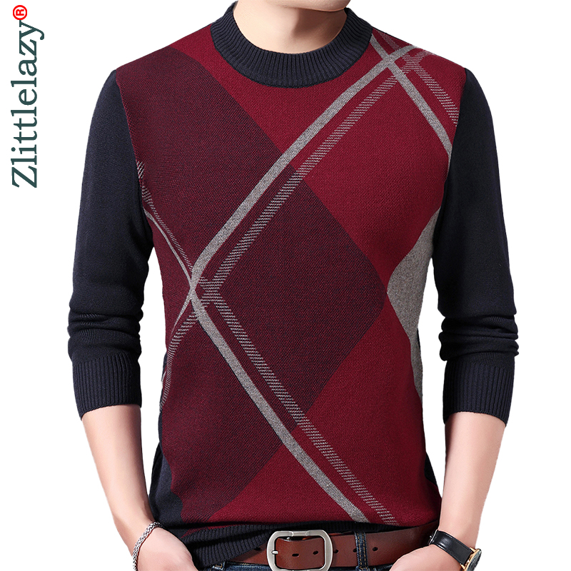 2019 Casual Thick Warm Winter Striped Knitted Pull Sweater Men Wear Jersey Dress Pullover Knit Mens Sweaters Male Fashions 02116