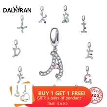 DALARAN 26 Letters 925 Sterling Silver Bead Charms Silver 925 Original Pendant Necklace Fit Bracelet DIY Jewelry Making