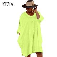 YEYA Women Pullover Loose Solid Dresses Summer Half Sleeve O Neck Casual Ladies High Streetwear Vestidos Plus Size 4XL