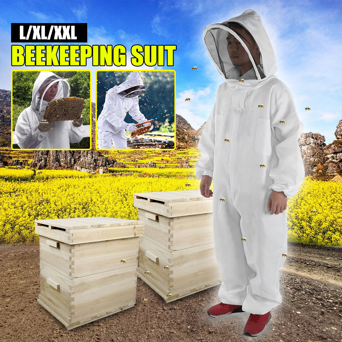 Cotton Full Body Beekeeping Clothing Veil Hood Hat Clothes Jacket Protective Beekeeping Beekeepers Suit apicultura Equipment