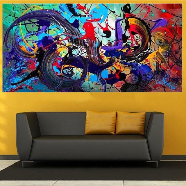 Modern Colorful Abstract Canvas Print Art Oil Painting Wall Picture Home Decor Unframed study hallway living room decor gifts F1