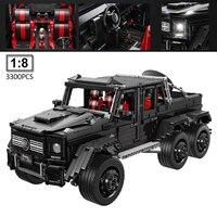 LE J901 1:8 Technic Car Series MOC SUV 6x6 LAND CRUISER Model with LED building Blocks Off Road Vehicles Bricks Toys 3300pcs