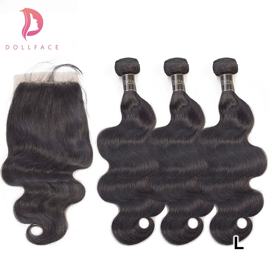 Dollface Brazilian Body Wave Hair With Lace Closure Virgin Hair Extensions 3 Human Hair Bundles With Closure Deal Low Ratio