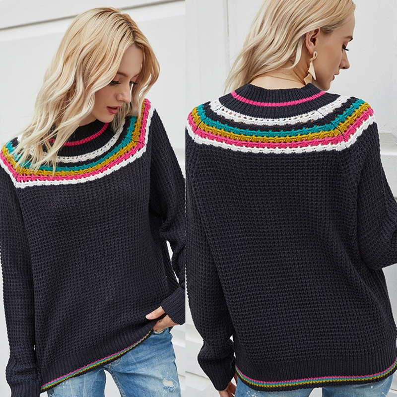 Женский вязаный свитер в этническом стиле разноцветный Радужный