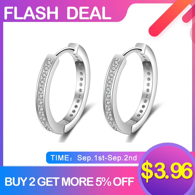 Hoop-Earrings Fine-Jewelry 925-Sterling-Silver Cubic-Zirconia-Paved Women Round Classic