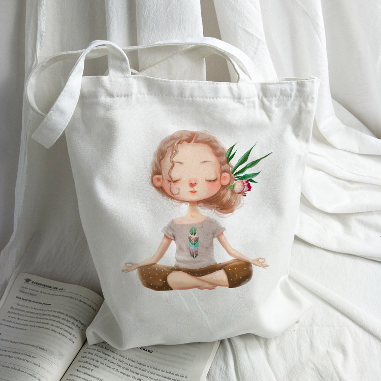 New Fashion Women Shopping Bag Ladies Canvas Cartoon Girl Printed Shoulder Bags Totes Beach Bags Girls School Bags