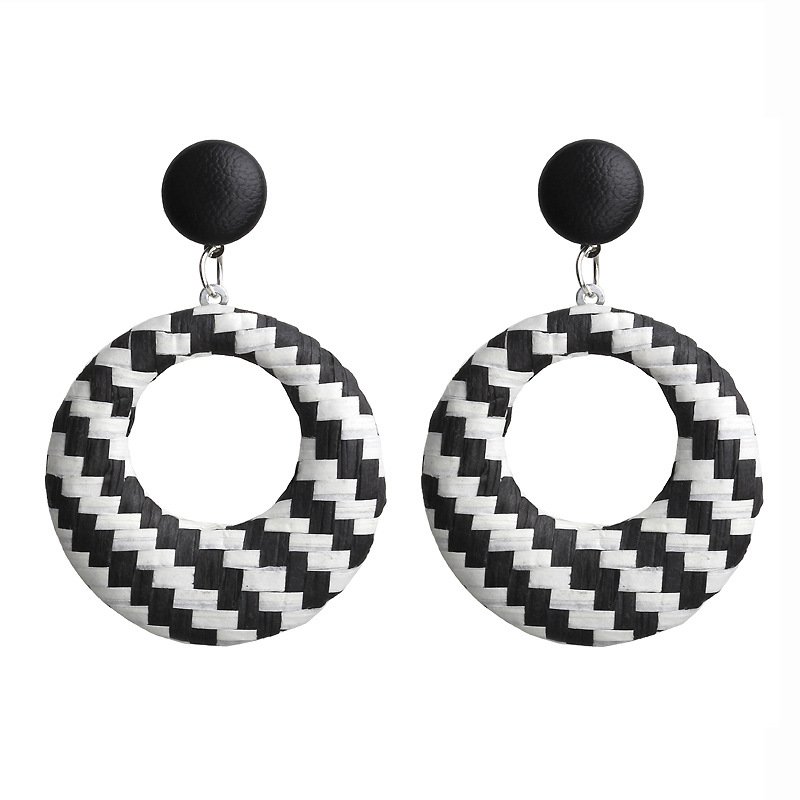 European And American New Earrings Bohemian Retro Simple Hollow Woven Circle Earrings