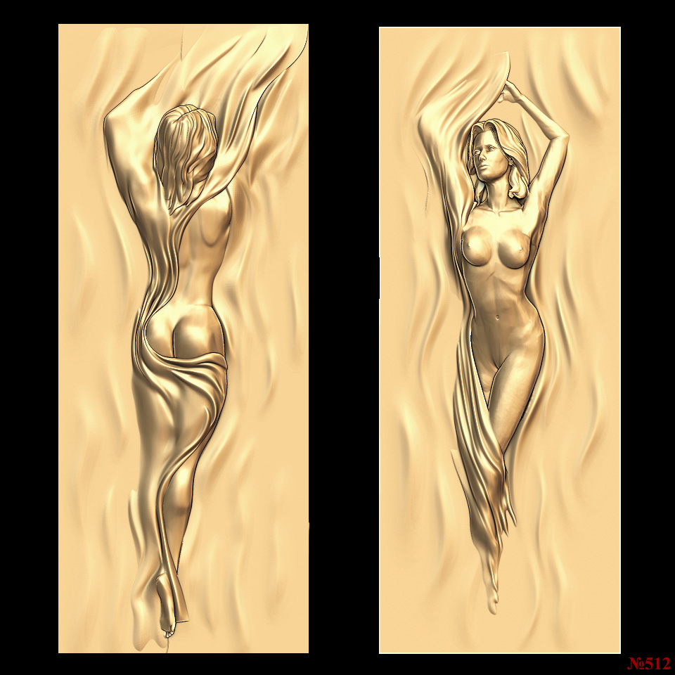 2pcs Door Decor_Naked Woman 3d Model STL Relief For Cnc STL Format Frame 3d Relief Model STL Router 3 Axis Engraver ArtCam