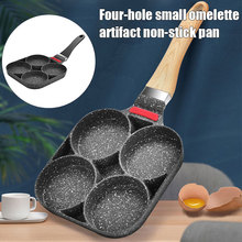 Newly 4 Hole Fried Egg Burger Pan Fried Egg Pan Wooden Handle Pancake Frying Pan Egg Cooker Gas Stove  And Induction Cooker