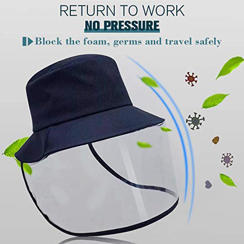 Epidemic Protection Hat Anti Saliva UV Hat with Face Shield Full Face Isolation Anti-Pollution for Fishing Boonie Camping Hiking 3