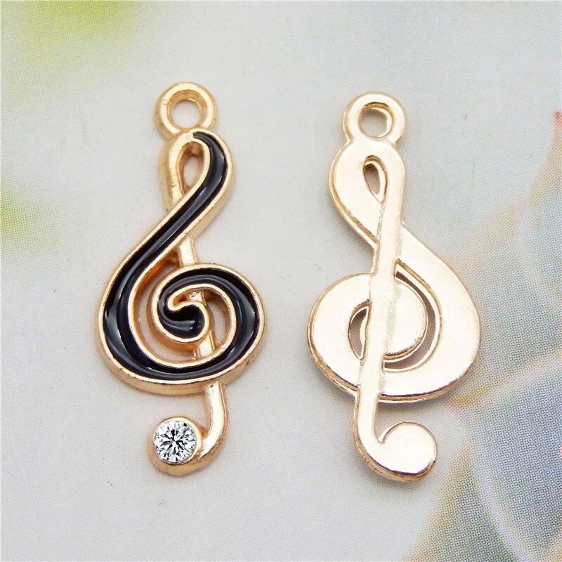 8 pcs Enamel Music Note Charms Rhinestone Pendant Music Jewelry