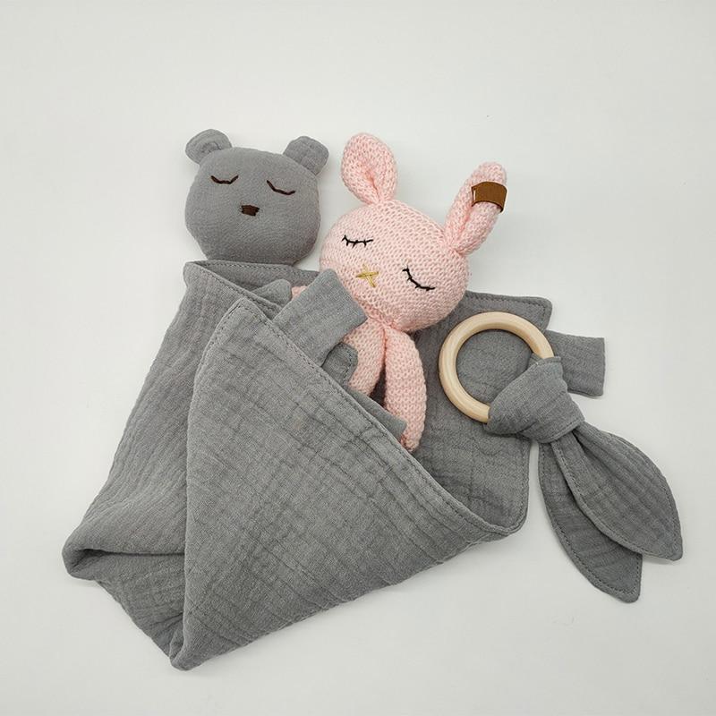 Rabbit Toys Bear Soothe Appease Towel Baby Calm Sleeping Plush Pacify Toy Infants Saliva Teether Towel Newborn Handkerchief Toys