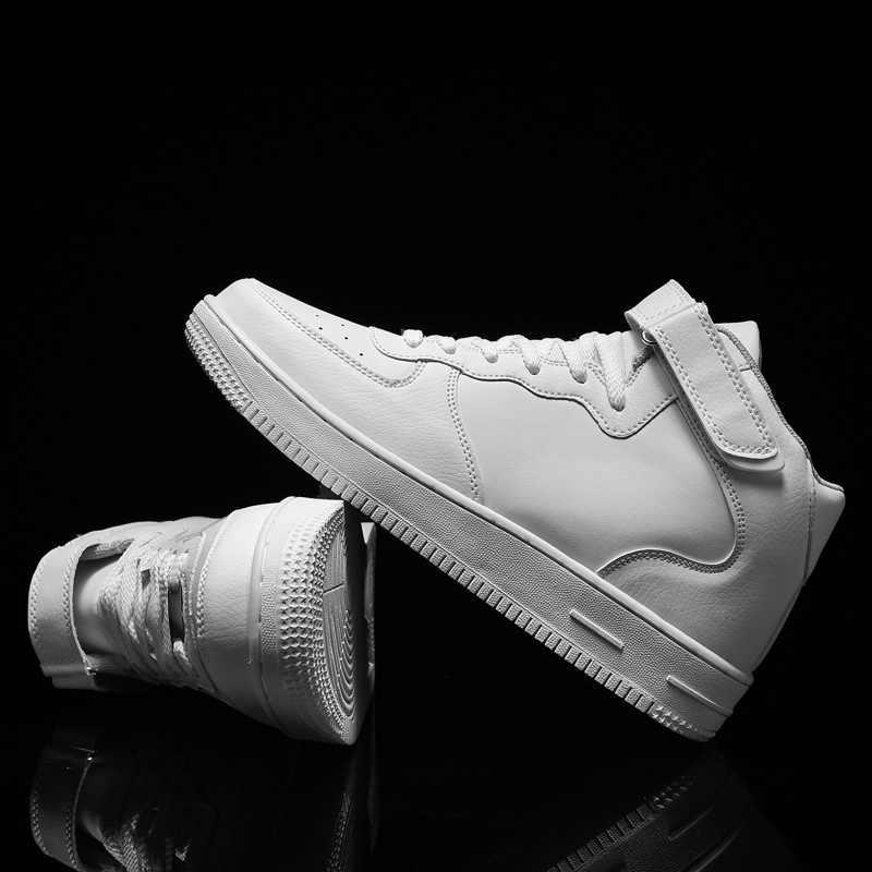 Ayakkabı Kadın 2019 Yeni Sonbahar Kış Yüksek Top Ayakkabı Beyaz Sneakers Yüksek Kaliteli PU Dantel Up Tıknaz Sneakers Moda Mujer