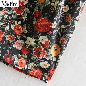 Image 5 - Vadim women vintage floral pattern print midi dress V neck long sleeve female fashion casual straight dresses vestidos QD106