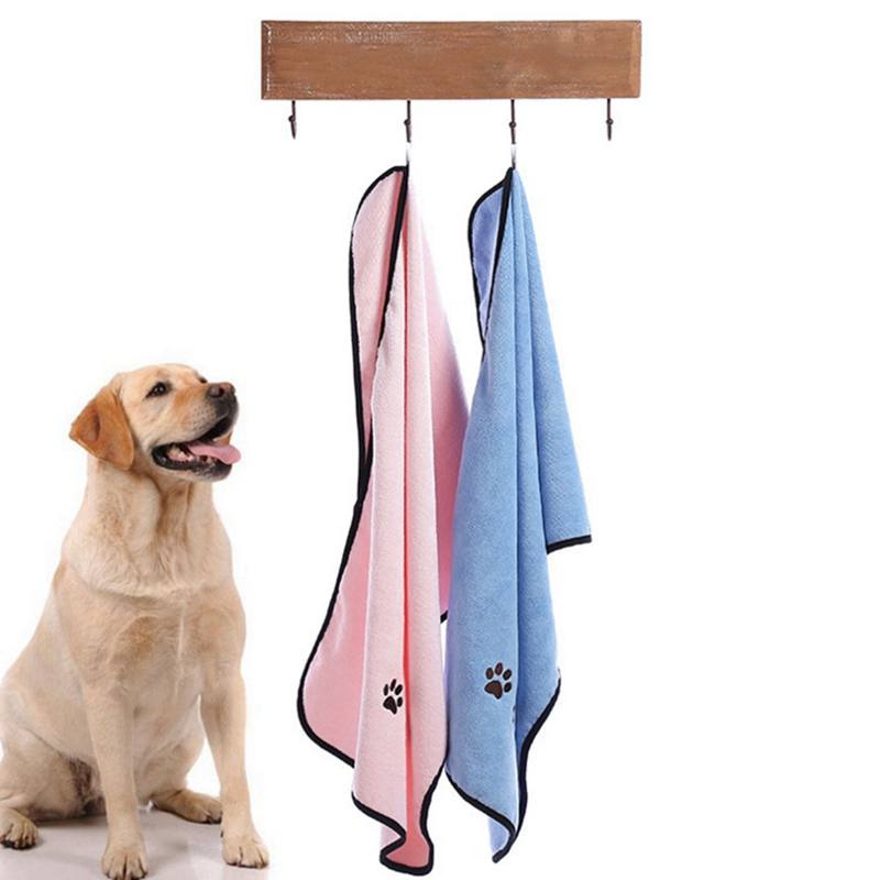 Pets Dog Bath Towels Perros For Dogs Cat Puppy Microfiber Super Absorbent Pet Drying Towel Blanket With Pocket Cleaning Supply