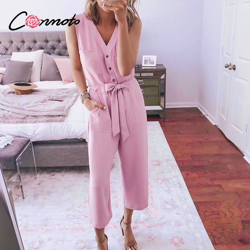 Conmoto sleevless summer 2020 solid pink jumpsuits rompers women pockets beach jumpsuits button sash casual plus size jumpsuit