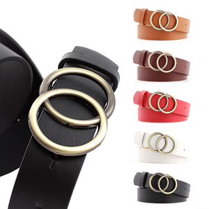 Soft Faux Leather Double Ring Buckle Vintage Decorative Casual Tighten All-Match Lightweight Long Women's Belt Fashion Waistband